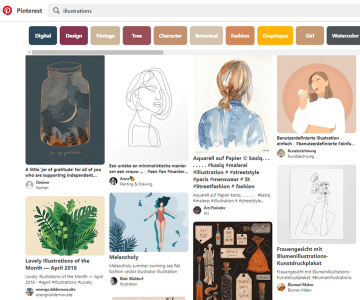 Illustrations Pinterest